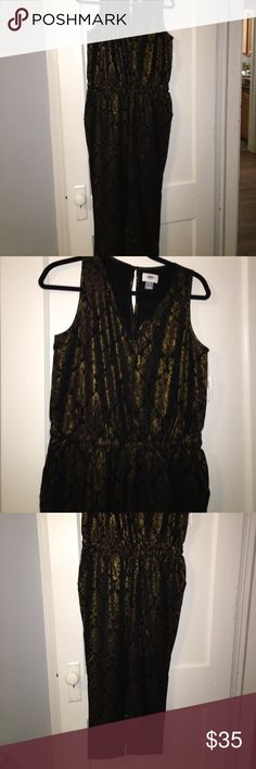 Black and Gold Metallic Jumpsuit NWT New! Has a Drawstring to accentuate waist. Old Navy Dresses