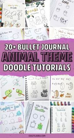 Want to add some super cute decoration to your bullet journals theme this month!? Check out these animal doodle tutorial spreads for inspiration! #bujo #bulletjournal #bujodoodle #doodles Bullet Journal Month, Bullet Journal Ideas Pages, Bullet Journal Inspiration, Bullet Journals, Bujo Doodles, Easy Doodle Art, Animal Doodles, Cute Easy Drawings, Doodle Inspiration