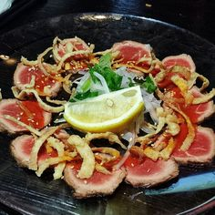 Beef Tataki - Lightly seared AAA beef, sesame-chili sauce at @HapaIzakaya