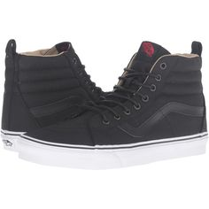 Vans SK8-Hi Reissue PT ((Military Twill) Black/True White) Skate Shoes ($45) ❤ liked on Polyvore featuring shoes, sneakers, black, vintage sneakers, skate shoes, retro sneakers, vans high tops and white hi tops