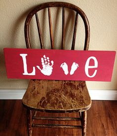 11 Cool Hand and Footprint Art Ideas.  Love this for a baby or kids room! Remember to add the child's name & date, either to the front or back