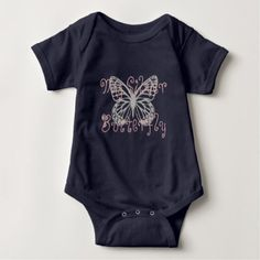 Custom My Silver Butterfly Baby Bodysuit - baby gifts child new born gift idea diy cyo special unique design