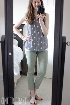 Stitch fix stylist: love this Meryl Tulip print sleeveless blouse and patrick cropped chino pant!
