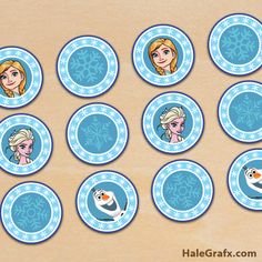 FREE Printable Frozen Elsa and Anna Cupcake Toppers