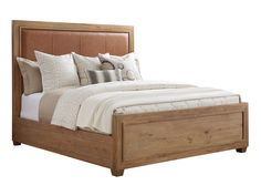 Tommy Bahama Home Los Altos Antilles Upholstered California King Panel Bed in Brown, Contemporary & Modern California King, Tommy Bahama, Leather Headboard, Headboard And Footboard, King Headboard, Wood Bed Design, Lexington Home, King Size Mattress, Furniture