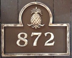 Pineapple address plaque by Marie Ricci.