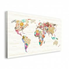 Mapa Świata Różnorodność - obraz na płótnie