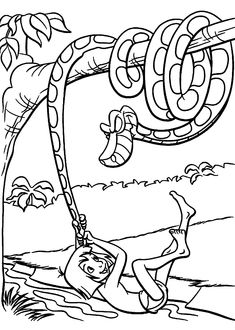 Mowgli and Kaa coloring pages for kids, printable free