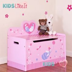 Toy Chest for Girls Faries | Wooden Girls Pink Fairy Storage/Toy Box/Bench
