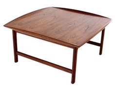 Danish Mid Century Modern Teak Coffee Table with Rolled Edges Clean | eBay