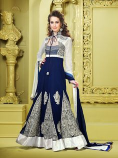 Alluring Off White & Royal Blue Salwar Kameez | StylishKart.com