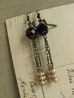 Black and White Flapper Inspired Earrings -long shabby chic elegant repurposed vintage-.  via Etsy.
