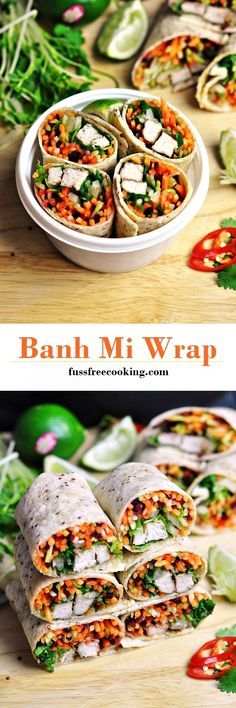 An easy banh mi wrap with grilled spiced chicken. This fresh & tasty recipe is inspired by the popular Vietnamese roll. #sp #recipe #banhmi