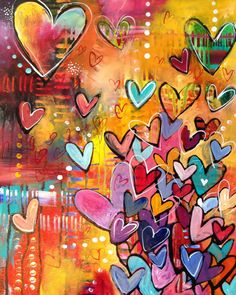 i love hearts.  this would be a great painting for my crafting room.