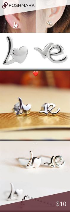 Silver ❤️ Love Stud Earrings - I Love these Silver ❤️ Love Stud Earrings - I Love these  I have 4 Pairs Available Jewelry Earrings