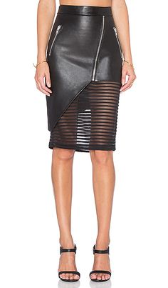 Mason by Michelle Mason Leather Skirt with Sheer Inset in Black Mason by Michelle Brown Leather skirt with a transparent surface Fashion Mode, Look Fashion, Fashion Outfits, Womens Fashion, Fashion Trends, Petite Fashion, Fashion Bloggers, Curvy Fashion, Fall Fashion