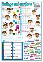 Feelings and emotions - crossword Language: English Level/group: pre-intermediate School subject: English as a Second Language (ESL) Main content: Feelings and emotions Other contents: adjectives Vocabulary Worksheets, Kindergarten Worksheets, Worksheets For Kids, English Vocabulary, English Activities For Kids, Emotion Words, Feelings Words, Feelings And Emotions, Printable Crossword Puzzles
