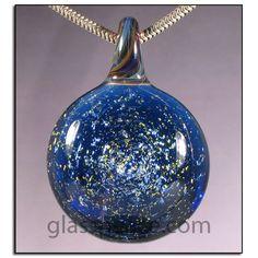 Blue Dichroic Glass Galaxy Pendant - Boro Lampwork Bead by Glass Peace $20.95