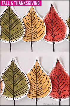 This fun Fall and Thanksgiving printable leaf doodle art activity for children is ideal for upper elementary teachers to use as a quick and easy art lesson plan in the classroom. Coloring pages, creative writing for grade grade grade 6 Thanksgiving Arts And Crafts, Fall Arts And Crafts, Thanksgiving Coloring Pages, Fall Crafts For Kids, Craft Activities For Kids, Art For Kids, Fall Leaves Coloring Pages, Easy Art Lessons, Leaves Doodle