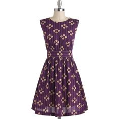 Vintage Inspired Mid-length Sleeveless Fit & Flare Too Much Fun Dress (1,675 MXN) ❤ liked on Polyvore featuring dresses, modcloth, purple, apparel, fashion dress, floral sleeveless dress, vintage looking dresses, fit and flare slip, vintage style dresses and mid length dresses