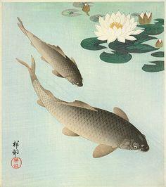 Ohara Koson (1877-1945) Two Carp and Lotus
