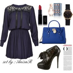 A fashion look from January 2015 featuring blue long sleeve dress, black patent leather boots and blue satchel. Browse and shop related looks.