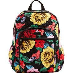 Vera Bradley Keep Charged Campus Tech Backpack - Havana Rose - School... ($118) ❤ liked on Polyvore featuring bags, backpacks, print, mesh backpack, quilted backpack, mesh zip bag, trolley backpack and quilted bag