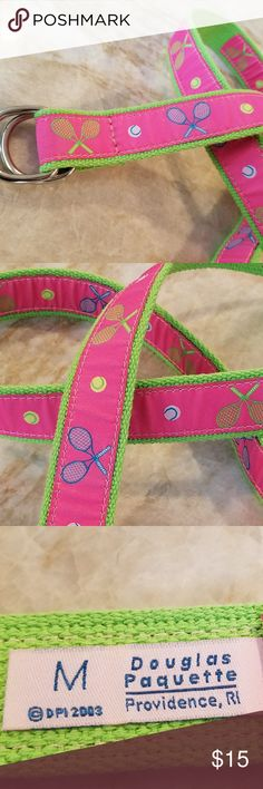 """Douglas Paquette Tennis motif canvas belt - Med Never used - pristine condition Douglas Paquette of Providence,  belt with tennis racquets and balls on pink ribbon sewn on bright green canvas.  Medium Adjustable  with silver tone buckle rings Belt is 40.5"""" long (not including the buckle) Doublas Paquette Accessories Belts"""