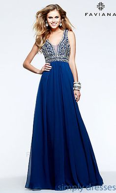 Full Length V-Neck Formal Gown by Faviana at SimplyDresses.com