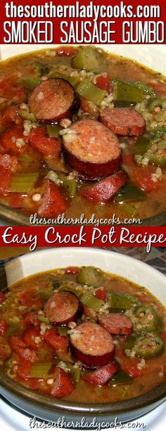 Easy crock pot Southern recipe that is pure comfort food your family will enjoy…. Easy crock pot Southern recipe that is pure comfort food your family will enjoy. Gumbo is a Southern favorite. Serve with some cornbread for a delicious meal. Slow Cooker Recipes, Crockpot Recipes, Cooking Recipes, Crockpot Gumbo Recipe, Smoked Sausage Recipes, Smoked Sausages, Sausage Gumbo, Smoothies, Crock Pot Cooking