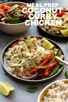 Prep your lunch or dinner for the entire week with these Healthy Slow Cooker Coconut Curry Chicken Bowls!