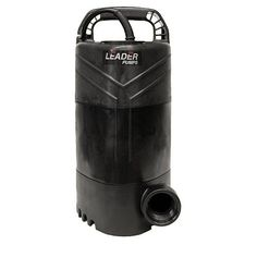 "Leader Clear Answer 3 Pump by Leader. $259.00. Maximum flow rate: 4200 Gallons Per Hour. Submersible pond waterfall pump. 16 foot power cord. Pump can be operated vertically or horizontally. Maximum Head: 31 Ft. Energy Consumption: 750 Watts. Inlet: Screened bottom intake. Outlet: Outlet is 1-1/4"""" FPT (female pipe thread). An optional threaded elbow is included which changes the outlet size to 1-1/2"""" FPT. Measurements: Approximately 13"""" x 6"""" x 6.5""""."
