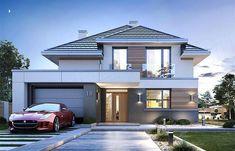Projekt domu piętrowego Oszust 2 o pow. z garażem z dachem kopertowym, z tarasem, sprawdź! One Storey House, 2 Storey House Design, Bungalow House Design, Double Storey House Plans, Double House, House Outside Design, House Front Design, Modern House Design, Morden House