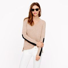 leather panel blush colored sweater