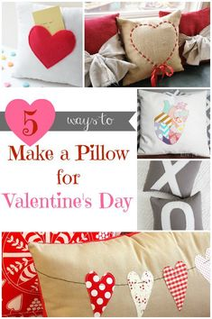 DIY Home Decor | Do you love a pretty pillow? Check out five different Valentine's Day pillow ideas!