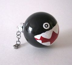 Mario Chomp Ornament, Hand Painted Mario Inspired Glass Ball Ornaments