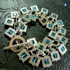 ♥ Amazing Ocean Blue Crystal Cubes Silver Framed Bracelet    eBay