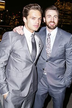 Sebastian Stan and Chris Evans, at the screening of Captain America: The Winter Soldier. Smashing!