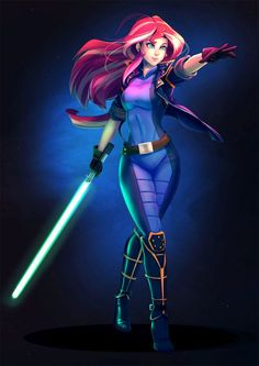 MLP x Star Wars, Sunset Shimmer (jedi cosplay), by bakki