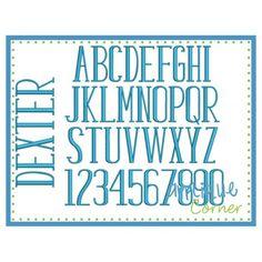 Dexter Embroidery Font Applique Corner