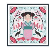 Japanese Geisha Cross Stitch Pattern Instant by tinymodernist, $6.00