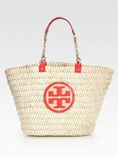 Tory Burch Large Audrey Straw & Leather Tote Bag  I can't have enough straw bags!  #SaksLLTrip by toni
