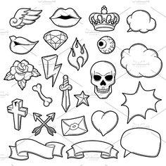 Set of retro tattoo symbols. Graphics Set of retro tattoo symbols. Cartoon old school illustration. by incomible Koch Tattoo, Kritzelei Tattoo, Doodle Tattoo, Tattoo Outline, Doodle Art, Tattoo Drawings, Tattoo Set, Retro Tattoos, Flash Art Tattoos