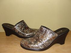 NATURALIZER Womens Shoes Brown Textured Leather Mules Heels Slides Wedges Sz 7M #Naturalizer #Mules #Casual
