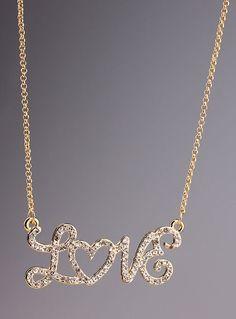 4904148562 Gold Diamond LOVE Chain Necklace - Sheinside.com Simple Jewelry, Heart  Jewelry, I