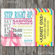 Carnival, Circus Birthday Party Invitation, Carnival Theme Party Invite - 5x7 PRINTABLE. $12.00, via Etsy.
