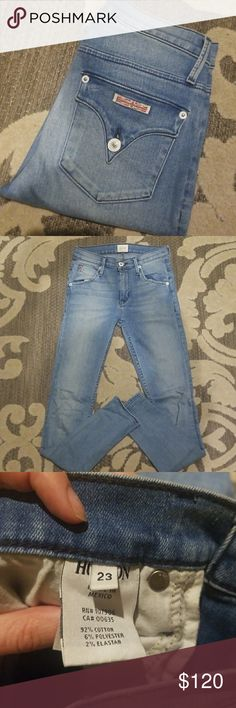 Hudson Lynne High Waist Flap Super Skinny My favorite denim brand. Hudson Jeans classic flap pocket with an updated high waist. Color is pico. A lighter wash denim. Size 23. (Im usually pretty standard size 24) Never put in dryer Hudson Jeans Jeans Skinny