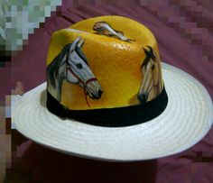 Sombrero pintado al óleo - Caballos