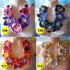 Handmade Fabric Flower Statement Necklace Bib by vitbich on Etsy