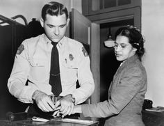 Rosa Parks being fingerprinted, 1955. She was the first black person to refuse to move at the back of the bus witch was reserved for the afroamericans